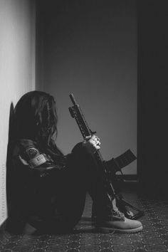 girl, black, and gun image
