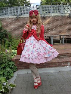 Angelic Pretty Eternal Rose Bouquet,  Baby,The Star Shine Bright Red Headbow, Ribbon Round Bag,  Baby,The Star Shine Bright Red