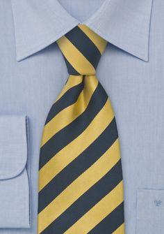 XXL-Krawatte dunkelblau gelb gestreift
