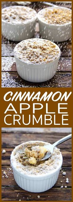 Cinnamon Apple Crumble is an easy, gluten free recipe for a cosy, warming and sweet treat - king of winter desserts, perfect on a cold day. Winter Treats, Winter Desserts, Desserts For A Crowd, Gluten Free Desserts, Easy Desserts, Dessert Recipes, Cookie Recipes, Baking Desserts, Mini Desserts