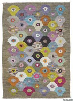 Modern Bohemian Turkish Kilim Area Rug Carpet Handwoven