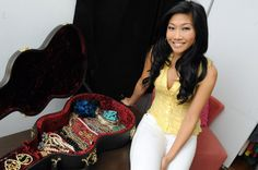 Fox 5 entertainment reporter Julie Chang uses her guitar case as a creative way to store and display her jewelry.
