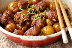 Braised Chinese Chestnuts Chicken in Cast Iron Dish Recipe on Yummly