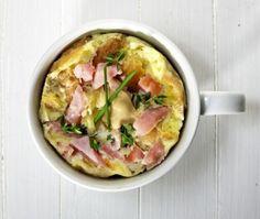 Klop een ei met melk en kruiden in een mok, brokkel er brood bij en doe er ham in snipperen. P& Z erbij en tuinkruiden erop.  /- 70 sec. in de magnetron en je hebt een mini-quiche in een mok! Serveer met mosterd.