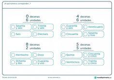 Ficha de a qué número corresponde las decenas para Primaria