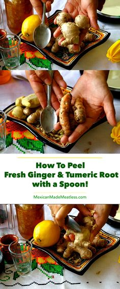 The Easiest and Quickest Way to Peel #Ginger & #Turmeric Roo! | #howto #kitchenhacks #Kitchenhowto #vegan