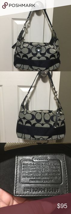 """HP Coach Blk/Gry Sig Stripe Purse F1094-F15197 Hobo style tote shoulder bag.  Gray jacquard fabric with black signature C's, solid black horizontal stripe across bottom. Silver tone hardware. Zippered top closure. Patent leather hang tag.   Inside zippered pocket with multifunctional pockets. No flaws, no scuffs. No wear on bottom. Inside immaculate. 9""""H x 12.5"""" W x 4.5"""" W, 9"""" strap drop. Adjustable /movable padding on shoulder strap. Coach Bags Totes"""