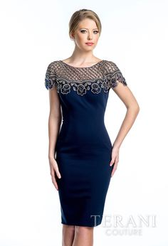 Navy Hourglass Dress with Lace Short Sleeves - Mia Bella Couture - Terani 1521C0219