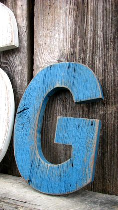 custom barn wood letter painted distressed shabby cottage chic. $35.00, via Etsy.
