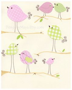 Baby Room Decor Nursery Art Birds ..Talking, pink and green birds, match to penelope bedding set by pottery barn