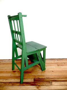 Shabby Step Stool Chair Green Farmhouse Kitchen by FreewheelFinds