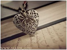 Filigree Heart Locket Gothic Necklace by SKAIOR Designs  http://www.skaior.com