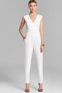 Trina Turk Jumpsuit // Love this structured white jumpsuit, but not thinking I could pull it off
