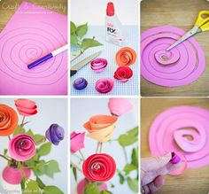 DIY rosas de papel - DIY So Simple & Crafty Paper Flowers ~ cute Kids Crafts, Crafts To Do, Creative Crafts, Craft Projects, Arts And Crafts, Craft Ideas, Creative Ideas, Handmade Flowers, Diy Flowers