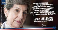 Isabel Allende, presidenta del Senado de #Chile e hija del ex Pte. Salvador Allende. #PatriaGrande #Latinoamérica #AméricaLatina #AméricaLatinayelCaribe #Iberoamérica #Sudamerica // #Frases #Citas