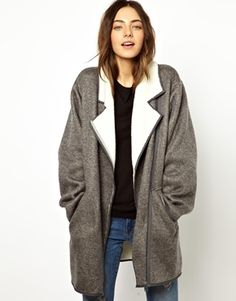 Esprit teddy lined lapel collar coat at ASOS - Price: £99.