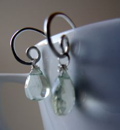 Green Amethyst faceted drop earrings. Hand forged solid 925 Sterling Silver by CalicoRoseStudio on Etsy.  £29.95