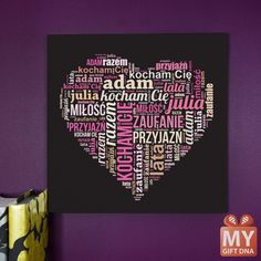 Personalised canvas. Shape from your words. #mygiftdna #unique # gift #personalised