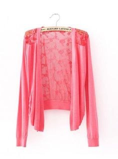 Pink Long-sleeved with Lace Back Sweater$35.00