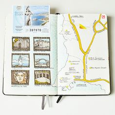 Travel journal ideas travel journal pages and scrapbook inspiration ideas for travel art and tap the Bullet Journal Voyage, Bullet Journal Travel, Travel Journal Pages, Travel Journals, Album Journal, Scrapbook Journal, Travel Scrapbook, Voyage Sketchbook, Sketchbook Ideas