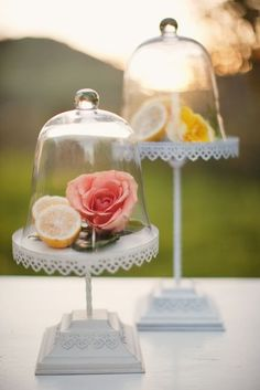 mini cloches used for pretty decor #mini #cloche #flower