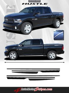 Vehicle Specific Style Dodge Ram Truck Hustle Hood Spears and Side Accent Pin Striping Vinyl Graphic Stripe Decals Year Fitment 2009 2010 2011 2012 2013 2014 20