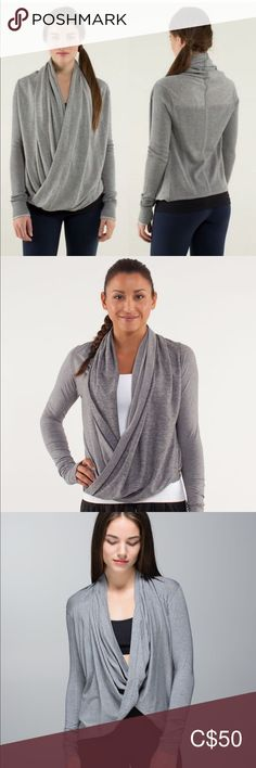 Lululemon iconic wrap Excellent condition, only worn a few times. Size 4 **cat friendly, smoke free home** Offers welcome. Plus Fashion, Fashion Tips, Fashion Trends, Lululemon Athletica, Gray Color, Long Sleeve Tees, Smoke Free, Product Description, Times