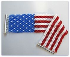 Flag  Beaded Cuff Bracelet 7inches Beadwoven  Red, White and Blue, silver slide Clasp Handmade Item #1030