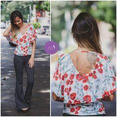 Calça risca de giz + blusa floral, mix de estampas que deu muito certo! #Vemprazas