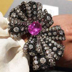 Dior à Versailles Salon de Vénus bracelet in white gold, scorched silver, diamonds and pink sapphire