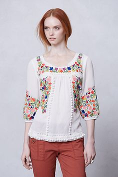 pompom peasant blouse