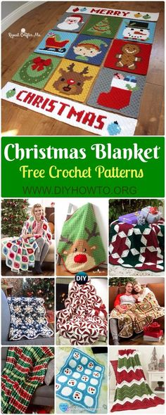 Crochet Christmas Blanket Free Patterns & Tutorials: Crochet Holiday Blanket, Retro Ornament, Pepper Mint, Reindeer, Star, Ripple Blanket via @diyhowto