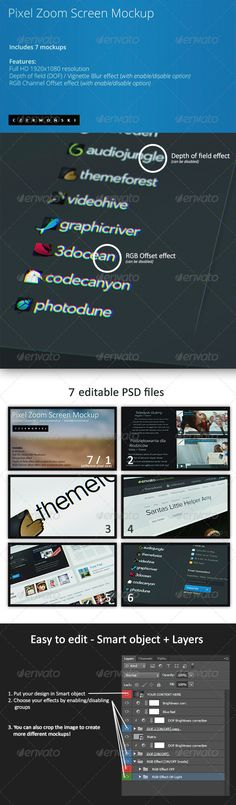 Pixel Zoom Screen Mockup. 7 PSD's included. Buy it on Graphicriver for just $4