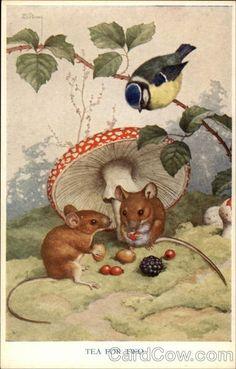 Medici Postcard Pk Mice under Amanita Mushroom- Tea for Two, Noel Hopking Vintage Cards, Vintage Postcards, Pet Mice, Mushroom Art, Photo D Art, Cute Mouse, Marjolein Bastin, Woodland Creatures, Beatrix Potter