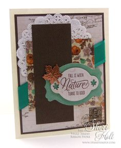 MY SHERI CARDS: The Stamp Simply Ribbon Store - Another Fall Card featuring Kaisercraft Miss Empire - designed by Sheri Holt
