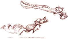 Sketches of Skrat the squirrel rat from Ice Age and his lady squirrel love Scratte by Peter de Sève