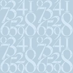 Knock Knock  (AZDPT003 Blue) - Mini Moderns Wallpapers - A fun wallpaper featuring various door numbers with screw holes. Shown here in pale powder blue. Please request a sample for a true colour match.