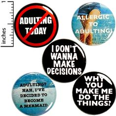 "Funny No Adulting Fridge Magnets Sarcastic Awesome Gift Set 5 Pack 1"" MP41-3 #Outerspacebacon Funny Buttons, Cool Buttons, Sarcastic Quotes, Funny Quotes, Vintage Fridge, Funny Magnets, Introvert Humor, Funny Memes Images, Funny Gifts"