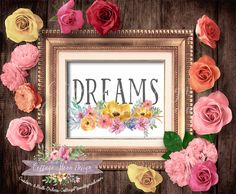Dream Watercolor Bouquet Floral Flowers Shabby Chic Printable Boho Print Sign Wall ART Home Decor Instant Download Office Nursery Bedroom by CottageMoonDesign on Etsy