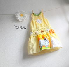 Yellow Linen Toddler Dress 5T Shabby Chic Girl's Clothing Vintage Fabric Upcycled Jumper Sheep White Lace Children's Clothes 'EMMALEE'. $58.00, via Etsy.