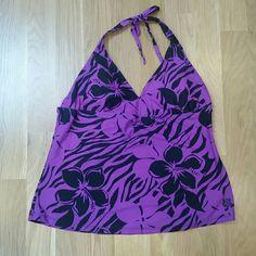 Plus Halter Tankini Swim Top Pretty purple and black floral patterned halter swim Tankini top. Padded/Shaped bust. Tie back halter style top. Size 3x. Only worn 1 time. hapari Swim Bikinis