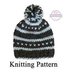 KNITTING PATTERN Fair Isle Beanie Pattern - Ski Cap Pattern by BoPeepsBonnets