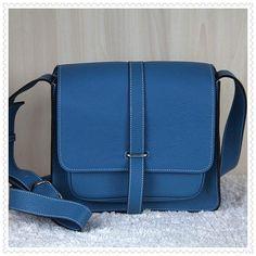 Hermes Jypsiere Men's Togo Leather Messenger Bag Middle Blue