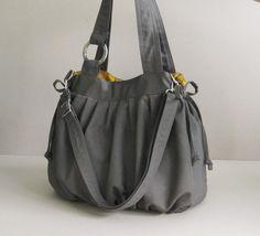 Sale  Grey Canvas Pumpkin Bag shoulder bag handbag por tippythai
