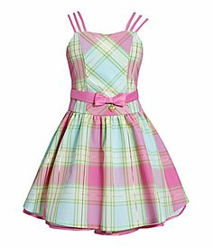 Bonnie Jean 716 TripleStrap Plaid Taffeta Dress #Dillards