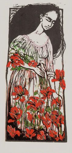 "Reduction Woodcut - ""Gathering Flowers"" 