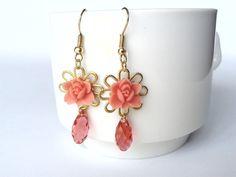 Pastel pink resin petite roses cabochon and by HirasuGaleri, $18.00
