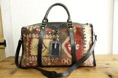 Kilim Bag  Turkish Leather Bag  Kilim Leather Bags  by kilimlife, $300.00