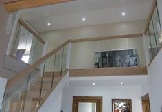 Reflections Glass and Oak Balustrade - Refurbishment Kit Staircase and Landing Contemporary Stairs, Contemporary Decor, Stair Railing Kits, Oak Cladding, Oak Handrail, High Point Furniture, Oak Furniture Land, Glass Balustrade, Luxury Furniture Brands