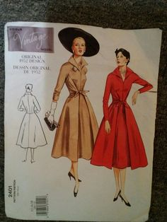 Vintage Vogue 50s sewing pattern dress 2401 Size 12, 14, 16